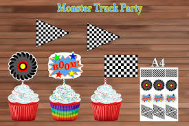 100 Monster Truck Party Decorations Birthday Decoration Cupcake Etsy