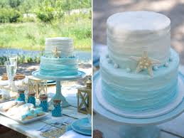 Blue Ombre Beach Themed Wedding Cake