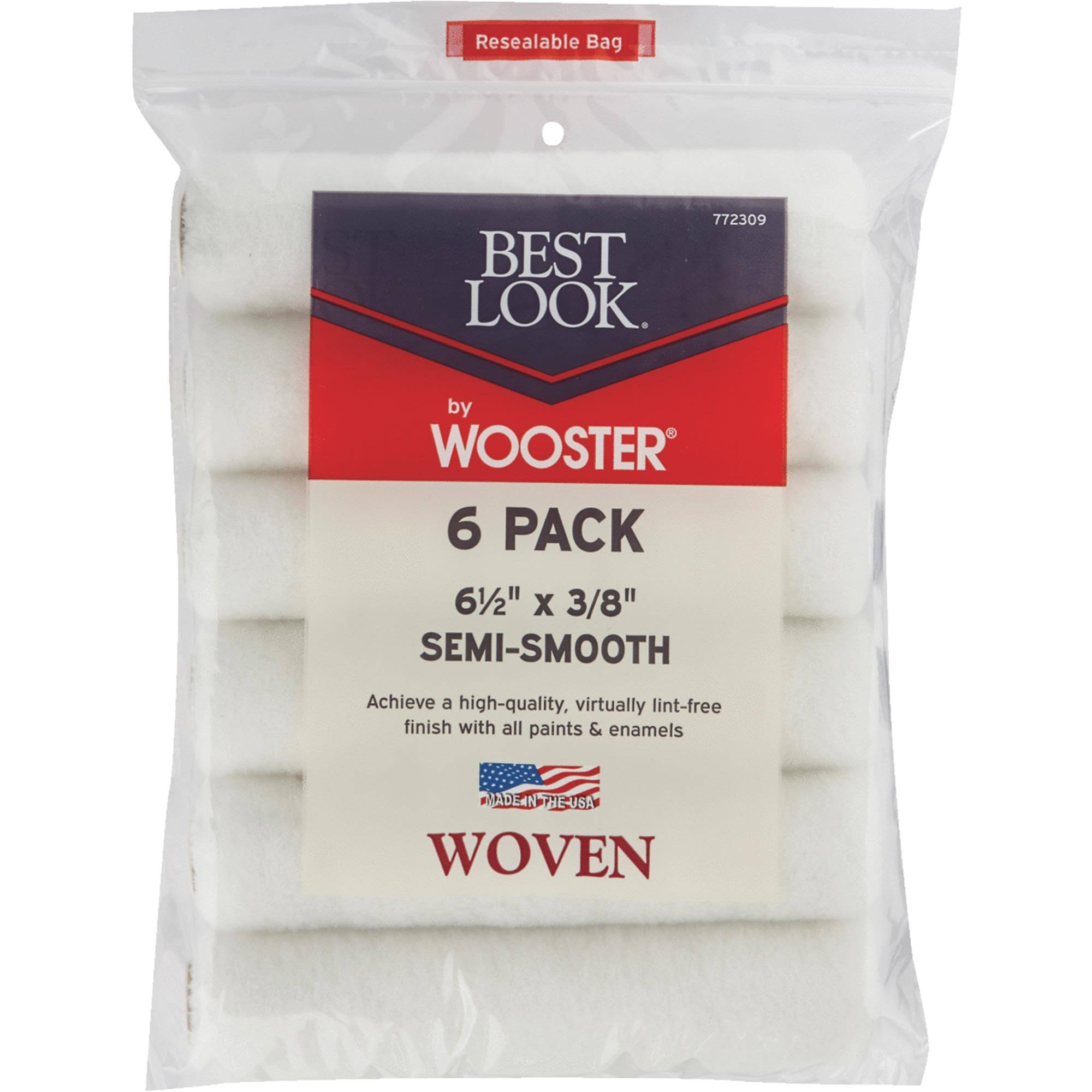 "Wooster Brush DR459 Mini Woven Cover - 6-1/2""x3/8"", Semi Smooth, 6pk"