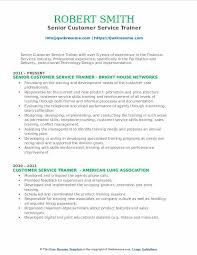 Senior Customer Service Trainer Resume Format