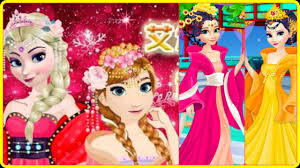 frozen elsa and anna chinese dress up video game for girls