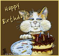 birthday cake cat eating cartoon