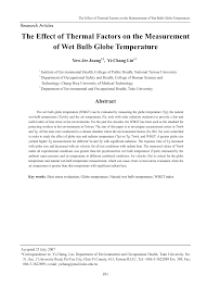 the effect of thermal factors on the measurement of bulb globe