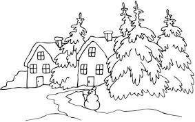 Snowy Village Landscapes Coloring Pages
