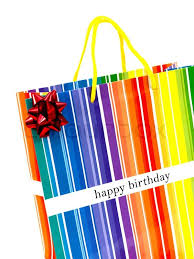 A happy birthday t bag isolated against a white background Stock