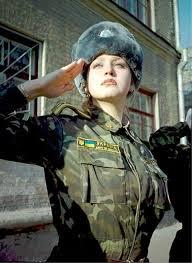 Ukrainian Female Soldier Salutes