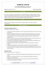 Investment Banking Analyst I Resume Template