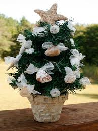 Those Whore Going For A Beach Themed Christmas Party Can Go This Mini Or Coastal Theme Potted Tree The Is Decorated With Fabric