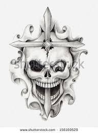 Skull Cross Tattoo Hand Drawing On Paper