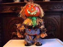 Avon Fiber Optic Halloween Decorations by Fiber Optic Standing Scarecrow With Jack U0027o Lantern Head Youtube