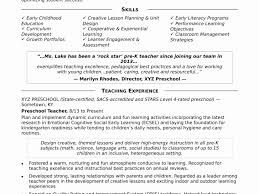 Unique Pre K Teacher Resume Inspirational Template Sample For Early Childhood Education