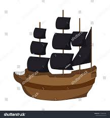 100 Design A Pirate Ship On White Background Hand Stock Vector Royalty Free