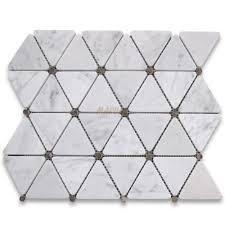 carrara white 2 3 4 inch triangle mosaic tile w emperador
