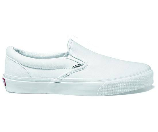 Vans Mens Classic Slip On Skate Shoes - True White, 6 US