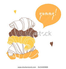 Chocolate Croissant Vanilla Cream Vector Illustration