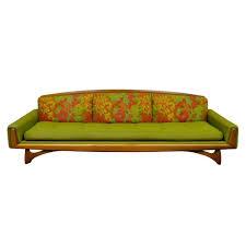 vintage kroehler mid century danish modern walnut sculpted sofa