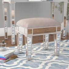 Anya Mirrored Vanity Stool