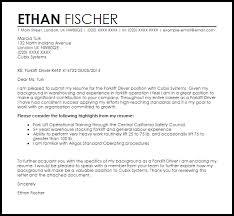 Forklift Driver Cover Letter Sample