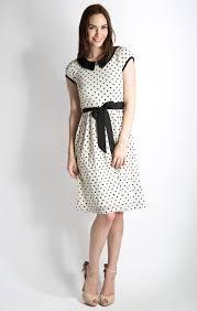 sunday best modest dress in egret black polka dot