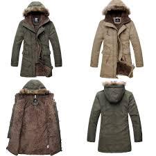 men u0027s military hooded fur collar winter warm long coat jackets