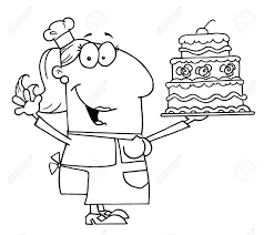 Clipart Illustration of an Outlined Cake Baker Woman Stock Vector