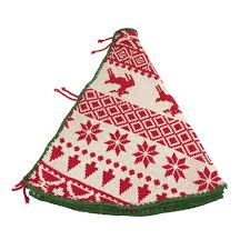 Ugly Sweater Knitted Yarn Christmas Tree Skirt Ivory Red 48 Inch
