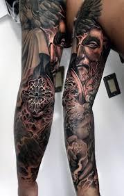 Realistic Angel Face Tattoo On Sleeve