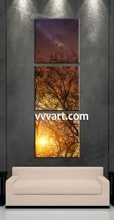 Forest Artwork Living Room Art 3 Piece Canvas Wall Sunrise Decor