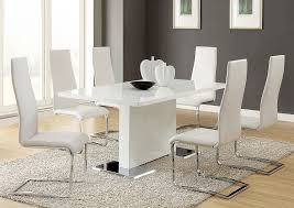 White Dining Table W 4 Side ChairsCoaster Furniture
