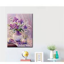 30x40CM 5D Diamond Painting DIY Purple Vase Flowers Cross Stitch Embroidery Wall Decor