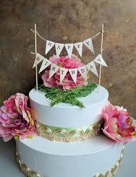 Birthday Cake Topper Banner Rustic Look Happy