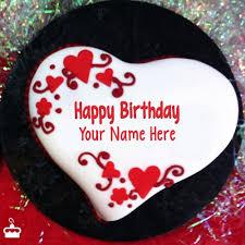 Write Name on Cake Heart Shaped Birthday Cake With Name