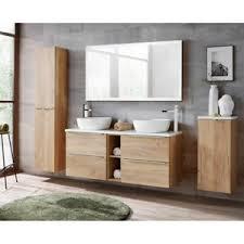 details zu badmöbel badezimmer set eiche doppel waschtisch unterschrank spiegel hochschrank
