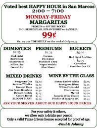 line Menu of Grins Restaurant Restaurant San Marcos Texas
