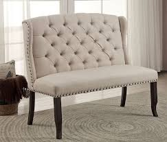 Dining Table Penley Tufted Ivory Linen Love Seat