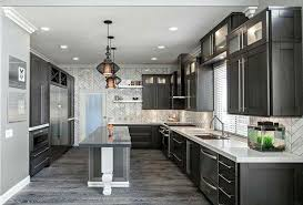 Grey Plank Tile Dark Cabinets Light Countertops For Kitchen