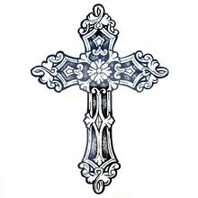 1pcs Big Cool Mens Cross TattoosBeautiful Arm Back Waterproof Large Temporary Tattoo Stickers