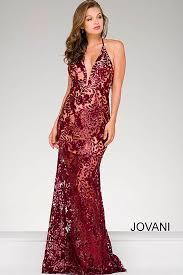 halter neck burgundy floor length gown features sequin