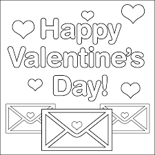 Valentines Day Envelope And Heart Colorable Text Coloring Page