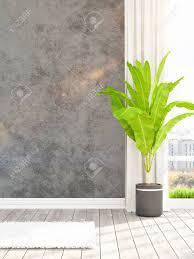 schöne leere moderne wohnzimmer innenraum mit pflanze 3d rendering