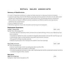 Resume Example Retail Samples