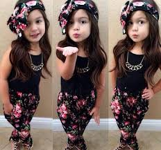 Girls Outfits Children Clothes Kids Clothing Girl Dress Summer Tank Tops Flower Pants Headbands Set Suit