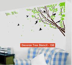 Tree And Birds Stencil Customize Design