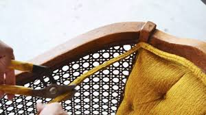 Recaning A Chair Back by How To Replace Chair Cane With Fabric Youtube