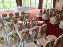 10 X Naturally Elegant Burlap Chair Sashes Jute Tie Bow For Rustic Wedding Decoration 7