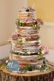Gorgeous Naked Rustic Wedding Cake With Roses