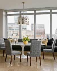 Splashy Parson Chairs In Dining Room Contemporary With Banquette Next To Grey Travertine