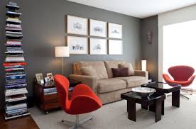 View In Gallery Gorgeous Living Room With Swan Chairs Vivacious Red