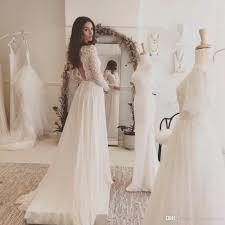 Lace And Chiffon Beach Wedding Dress Long Sleeve Rustic Vestidos De Noivas Para Casamento Backless Bridal Dresses With