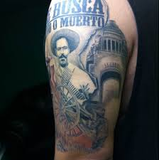 Very Realistic Looking Old Military Mexican Soldier Tattoo On Half Sleeve Area